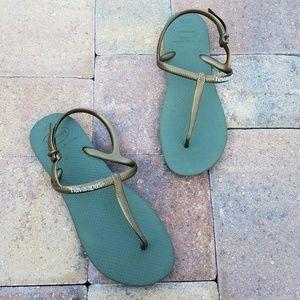 Havaianas Green Slim Strap Sandals Flip Flops